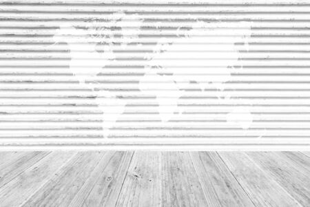 indoor background: Metal rust wall texture surface white color use for background with Wood terrace and world map