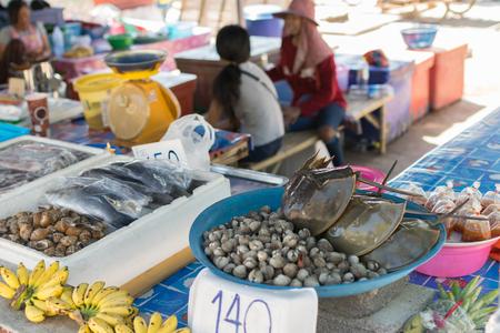 famous industries: Rayong, Thailand - December 31, 2015 : Thai seafood market at Laem Mae Phim Beach on Kram, Klaeng, Rayong, Thailand.