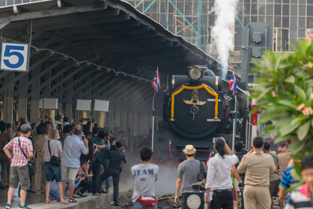 reminisce: Bangkok, Thailand - March 26, 2016 : Steam train at Foundation Day of train operation 119 years anniversary of the State Railway of Thailand. Editorial