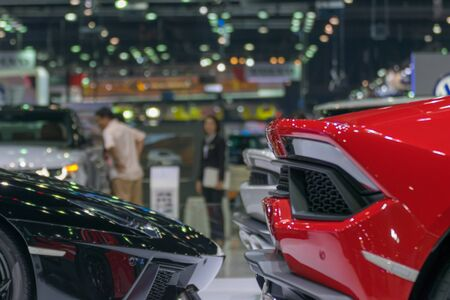 autoshow: Zoom at sports car taillight in Car show event at Bangkok, Thailand. This a open event no need property release and press credentials required. Stock Photo