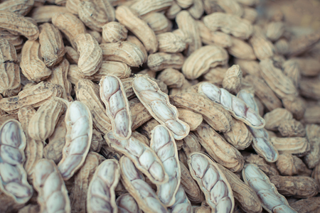 monkey nuts: Monkey nuts or Peanut for sale at the Thai street food market , process in vintage style Stock Photo
