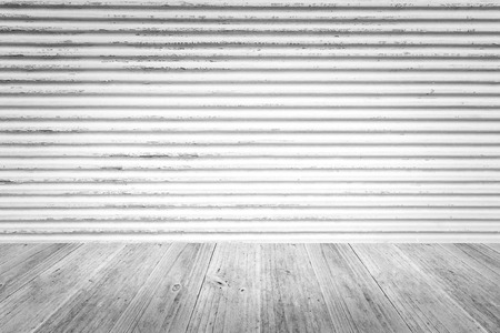 Metal rust wall texture surface white color use for background with Wood terrace. Stock Photo