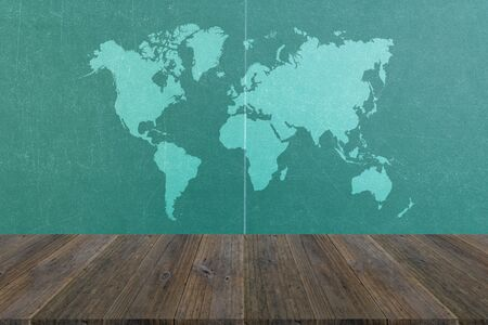 table surface: Table tennis wood texture surface natural color use for background with Wood terrace and world map Stock Photo