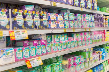 sanitary napkins and tampons: Bangkok, Thailand - May 1, 2016 : Many types of sanitary napkin for menstruation in supermarket.