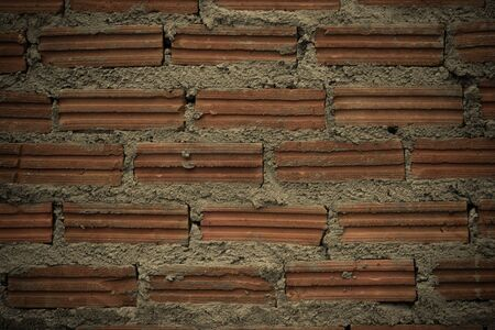 natural process: Red Brick wall texture surface natural color use for background , process in vintage style
