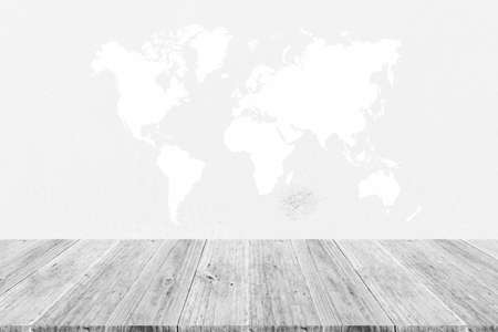 indoor background: Sand texture surface white color use for background with Wood terrace and world map Stock Photo