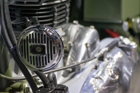 credentials: Some parts of the motorcycle in car show event. This a open event no need press credentials required. Stock Photo