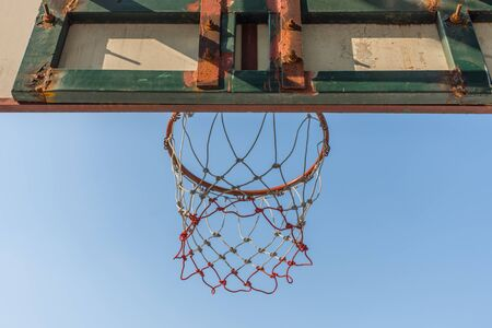 ball park: Basketball hoop make by wooden and ball in park