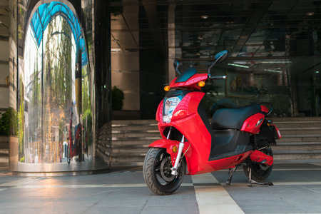 public company: Bangkok, Thailand - March 29, 2016 : Opening day electric motorcycle first time in Thailand by Loxley Public Company Limited.