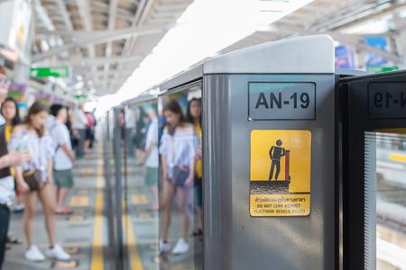 save time: Bangkok, Thailand - March 15, 2016 : BTS skytrain train runs in Bangkok. Many people in Bangkok used skytrain to save time.