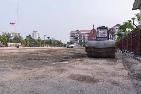 improved: Bangkok, Thailand - March 19, 2016 : Steamroller working at Wat Thep Sirin Thrawat Ratchaworawihan School for improved surface.