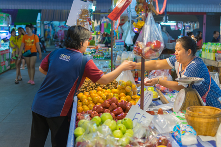 Bangkok, Thailand - February 19, 2016 : Thai exotic fruits in market. Like the charming people, exotic fruit greets you on almost every corner in Thailand.