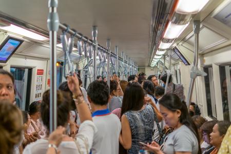 save time: Bangkok, Thailand - March 6, 2016 : MRT subway train runs in Bangkok. Many people in Bangkok used subway to save time.