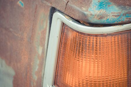 taillight: Old Taillight of vintage car with rust , process in vintage style