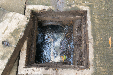 Working for drain cleaning. Problem with the drainage system.