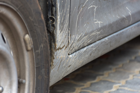 dirty car: Dirty car with muddy wait a car wash by car care Stock Photo