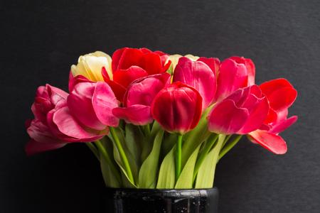 vasos de agua: tulipanes de color rojo hermoso de la flor en el florero negro sobre fondo negro Foto de archivo