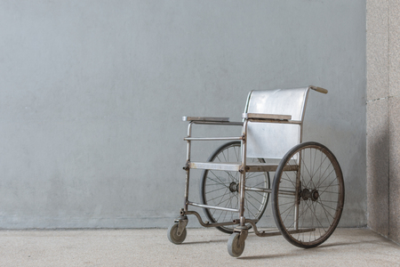 paraplegia: Wheelchair empty wait to use at hospital hallway