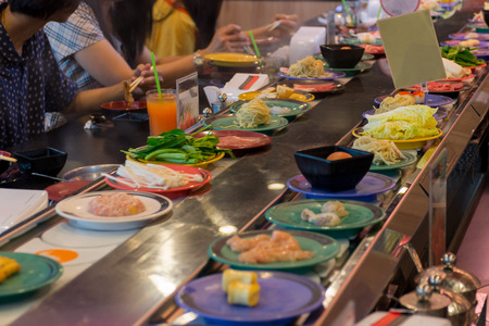 Japan restaurant sushi conveyor or belt buffet