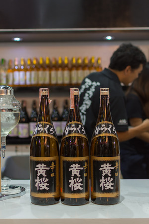 distilled: Bangkok, Thailand - May 28, 2016 : Bottles of japan liquor at the bar. Japan liquor is a type of distilled alcoholic beverage made from fermented grain mash. Editorial
