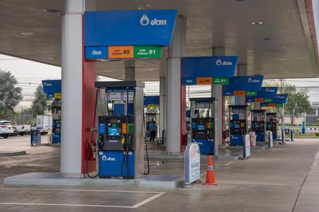 fuel pumps: Bangkok, Thailand - April 4, 2016 : Fuel pumps at a petrol gas station Editorial