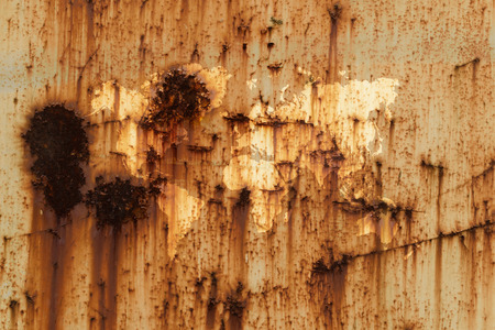 rust metal: Metal rust wall texture surface natural color use for background with world map