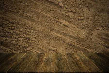 natural process: Sand texture surface natural color use for background , process in vintage style with Wood terrace