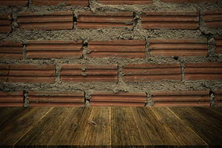natural process: Red Brick wall texture surface natural color use for background , process in vintage style with Wood terrace Stock Photo