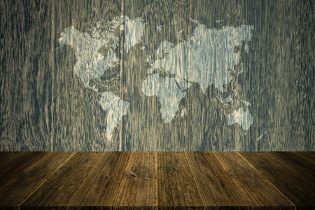 natural process: Wood texture surface natural color use for background , process in vintage style with Wood terrace and world map