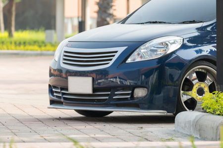 Sedan car blue color in lowered VIP style car at car parking Stock Photo - 66255150
