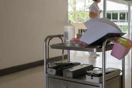 emergency cart: Medical equipment on medical cart for doctor use for healthcare in a hospital