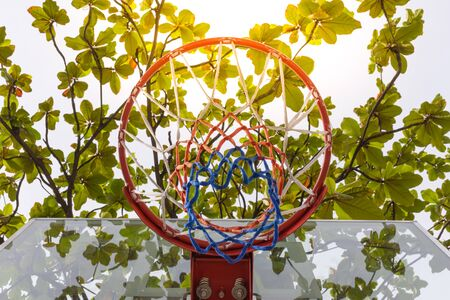 ball park: Basketball hoop make by wooden and ball in park , process in soft orange sun light style Stock Photo