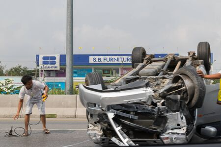 scrap trade: Bangkok, Thailand - February 22, 2016 : Car crash from car accident on the road in a city between saloon versus pickup wait insurance. Editorial
