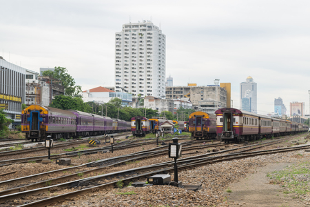 Bangkok, Thailand - September 5, 2015 : Unidentified railway train run on the railroad tracks. Many people in Thailand popular travel by train because it is cheaper. Editorial