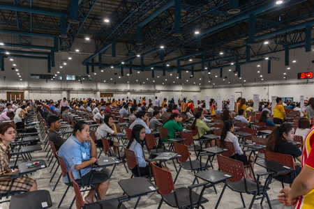 appoint: Bangkok, Thailand - July 24, 2016 : Adults take exam for appoint at State Railway of Thailand.