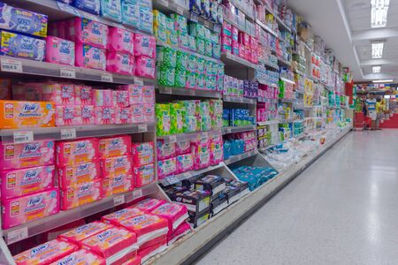 sanitary napkins and tampons: Bangkok, Thailand - June 20, 2016 : Many types of sanitary napkin for menstruation in supermarket.