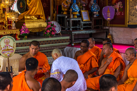 ordain: Bangkok, Thailand - July 9, 2016 : Thai monk ritual for change man to monk in ordination ceremony in buddhist in Thailand