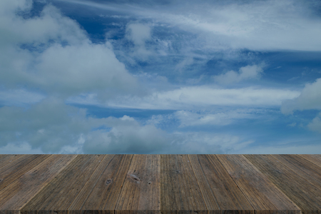 Nature cloudscape with blue sky and white cloud with Wood terrace
