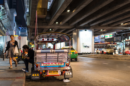 brothel: Bangkok, Thailand -March 2, 2017 : Unidentified Thai TukTuk taxi wait for a tourist on footpath at Patpong night market on silom road internationally tourist popular visited to Patpong.