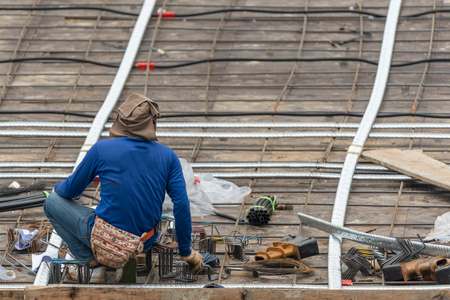 Bangkok, Thailand - April 5, 2017 : Unidentified people is construction worker or professional work for building a builder at construction site. Editorial