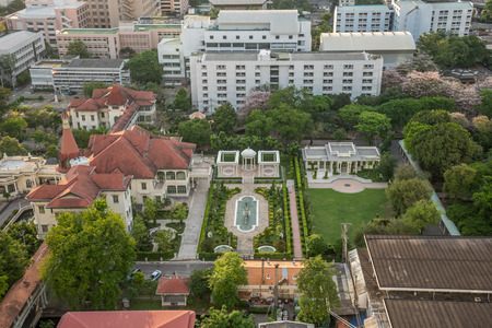 Bangkok, Thailand - April 9, 2017 : Cityscape and The Phya Thai Palace or Royal Phya Thai Palace is on the banks of the Samsen Canal on Rajavithee Road in the Ratchathewi District of Bangkok.