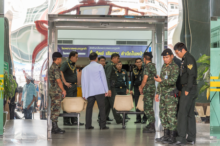 Bangkok, Thailand - May 22, 2017 :  Bomb attack at an Army hospital (Phramongkutklao Hospital) hit a dispensary room for commissioned officers at Chalermprakiat building, injuring 24 people Editorial