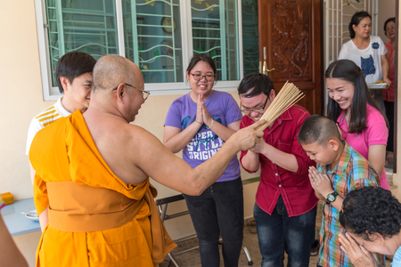 cerebrate: Ang Thong, Thailand - May 21, 2017 : Thai monk ritual for cerebrate the new house or house-warming ceremony in buddhist in Thailand