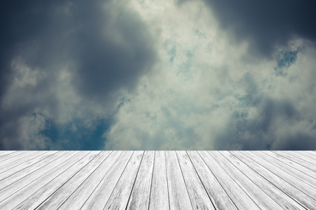 Nature cloudscape with blue sky and white cloud with Wood terrace , process in vintage style Stock Photo