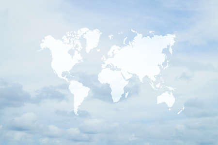 Nature cloudscape with blue sky and white cloud with world map Stock Photo