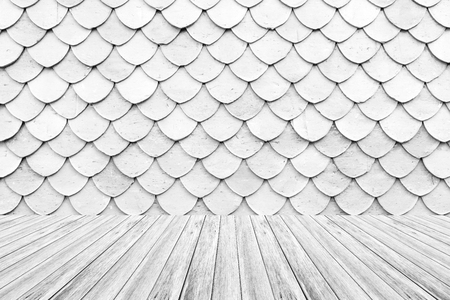 Wood terrace and Tile roof of old Thai temple texture background surface white color Stock Photo