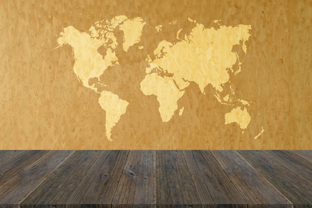 living room interior: Wood texture background surface natural color with wood terrace with world map