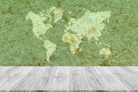living room interior: Wood texture background surface natural color, with white wood terrace and world map