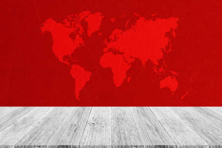 Fabric texture background surface natural color, with white wood terrace and world map