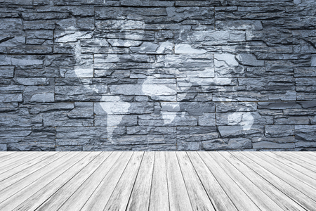 Stone wall texture background surface natural color with white wood stone wall texture background surface natural color with white wood terrace and world map foto gumiabroncs Gallery